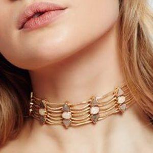 Free People Six Shooter Choker Gold Jeweled Blush